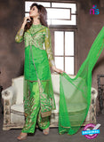 NS10943 Green and Golden Georgette Party Wear Designer Suit