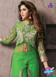 NS10943 Green and Golden Georgette Party Wear Designer Suit Online