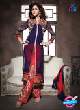 NS10944 Royal Blue and Red Georgette Party Wear Designer Suit