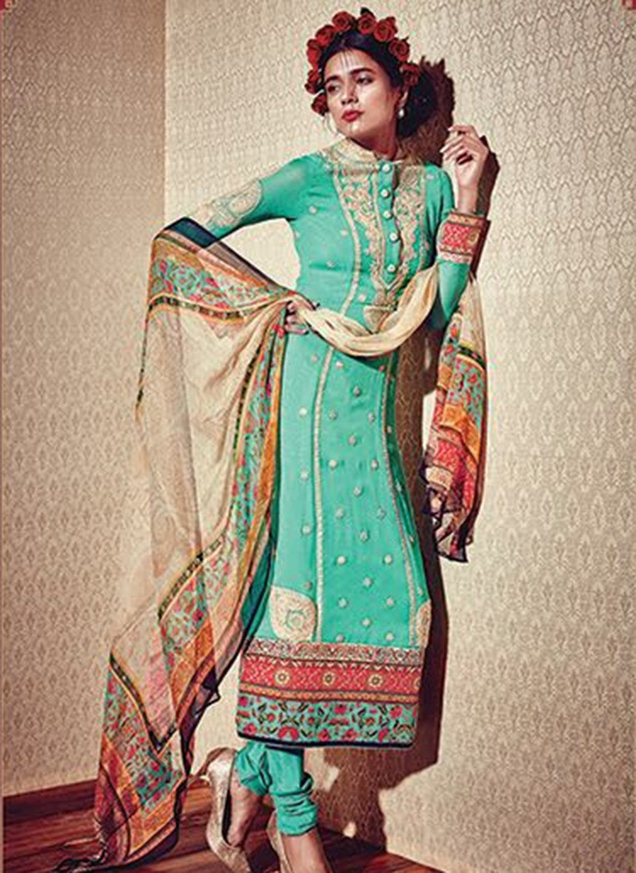 Heer 5906 Blue Color Georgette Designer Suit
