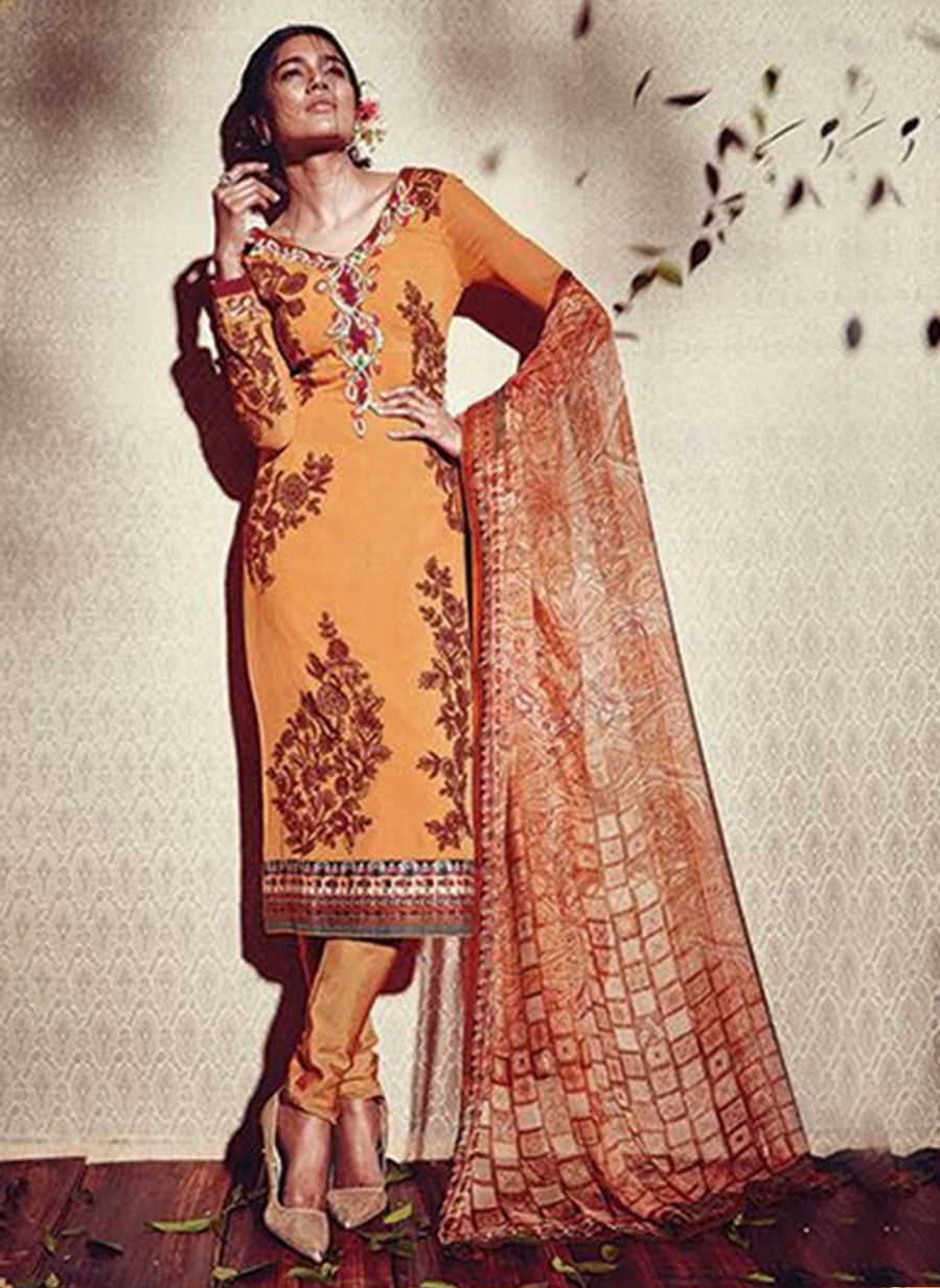 Heer 5907 Orange Color Georgette Designer Suit