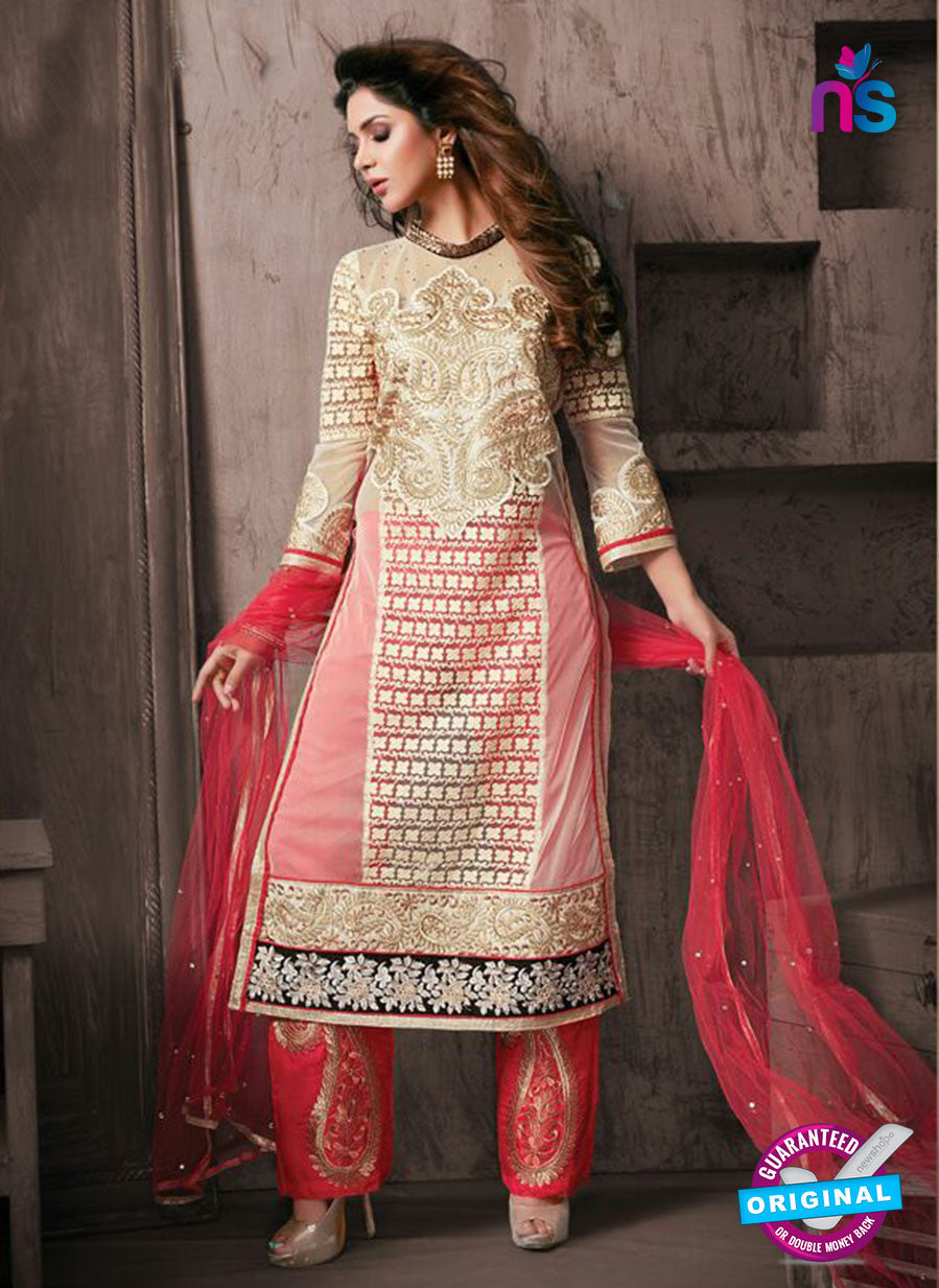 NS10945 Ivory and Red Georgette Party Wear Designer Suit