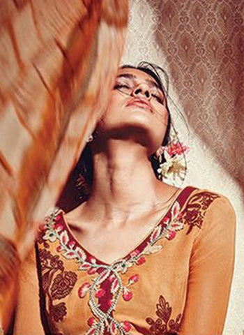 Heer 5907 Orange Color Georgette Designer Suit Online