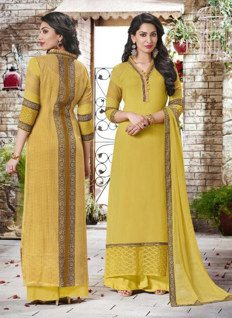 Haya 5907 Yellow Color Georgette Designer Suit