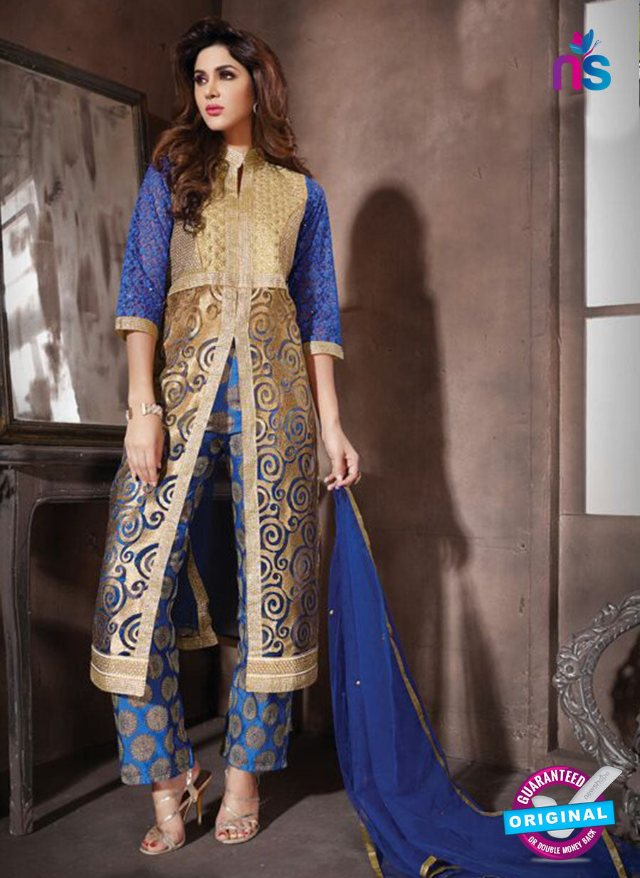NS10946 Beige and Brown Georgette Party Wear Designer Suit