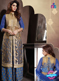NS10946 Beige and Blue Georgette Party Wear Designer Suit Online