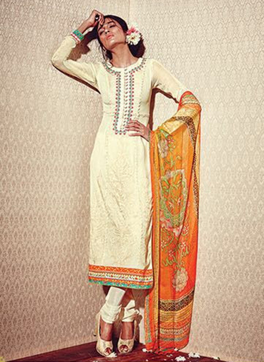 Heer 5909 Beige Color Georgette Designer Suit