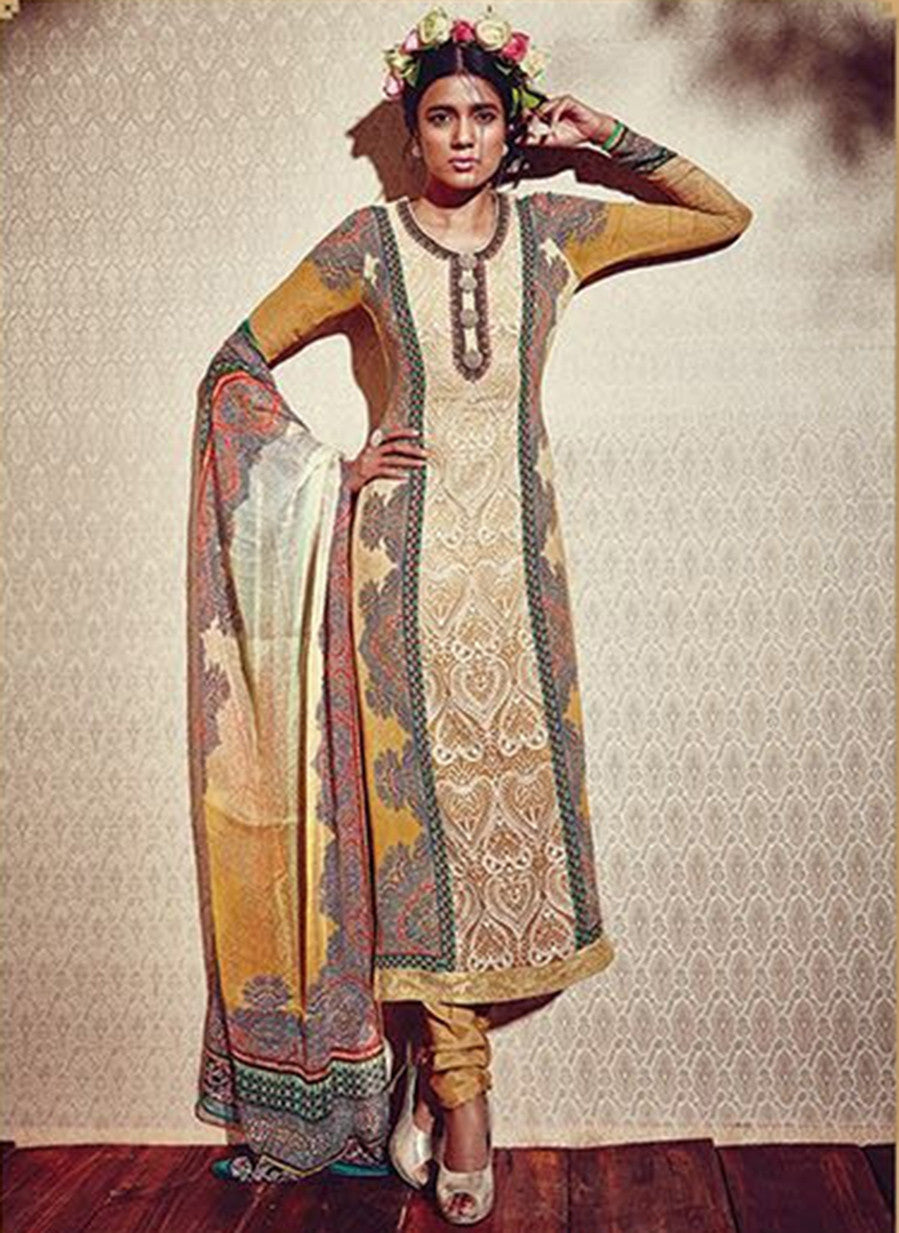 Heer 5914 Yellow & Beige Color Georgette Designer Suit