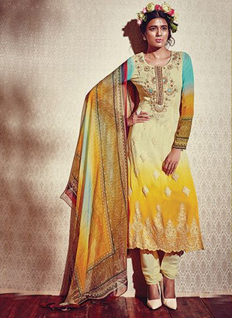 Heer 5915 Yellow Color Georgette Designer Suit