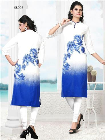 NS11766 White and Blue Ryon Kurti