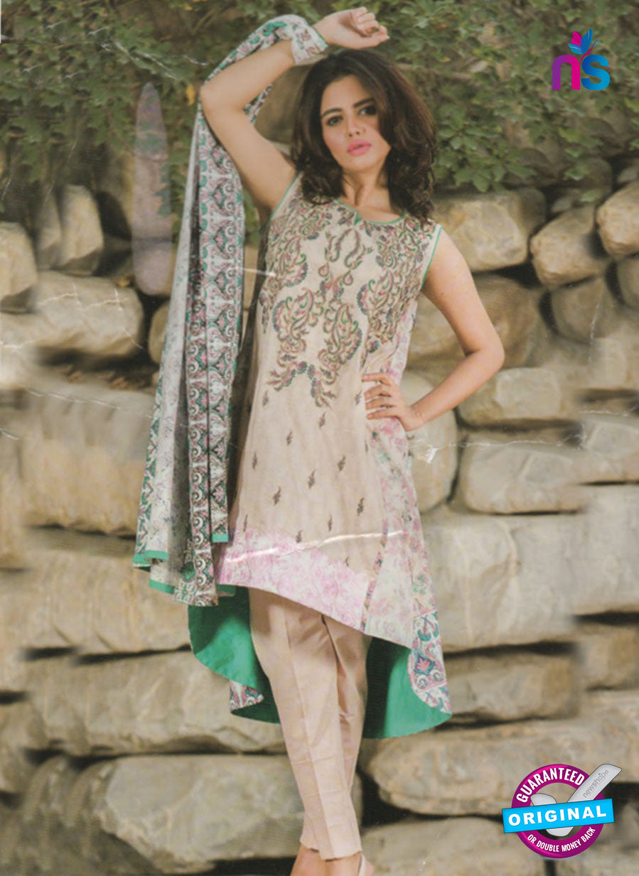 NS 12376 Beige and SeaGreen Embroidered Printed Lawn Party Wear Suit