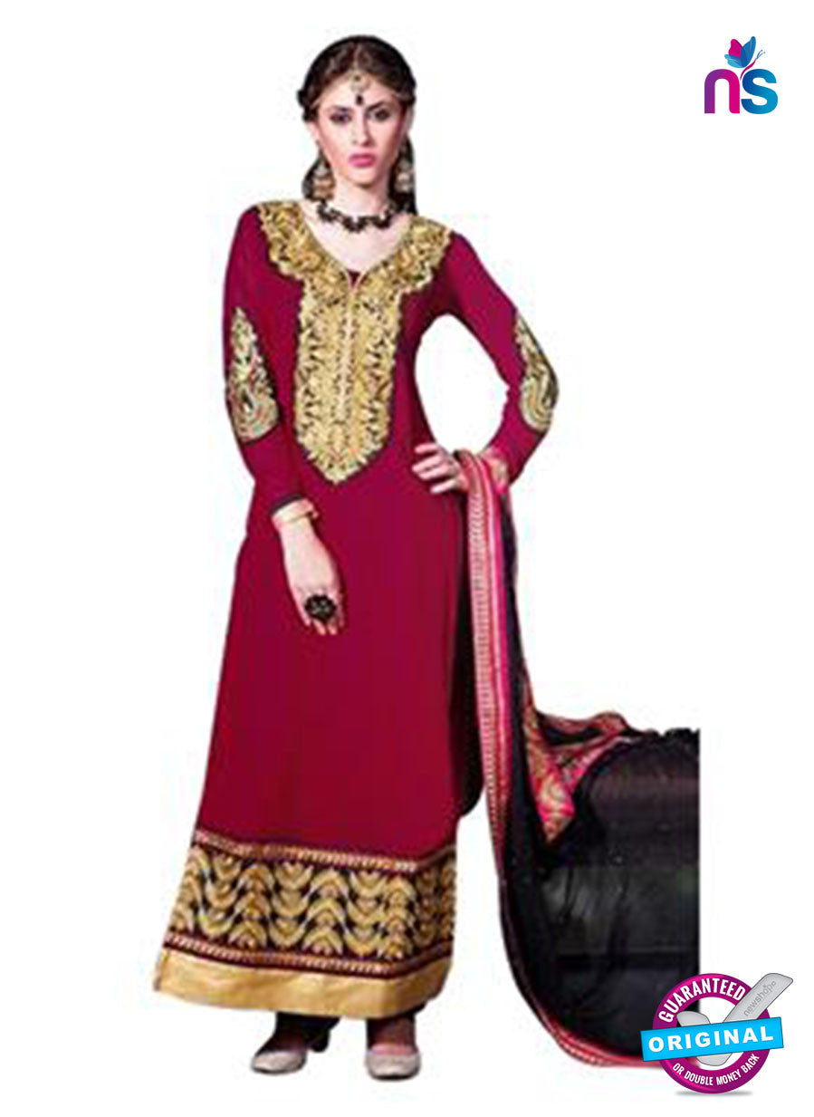 NS12196 Dark Pink and Black Straight Suit