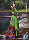 NS 12289 Green and Red Cotton Satin Party Wear Plazzo Suit