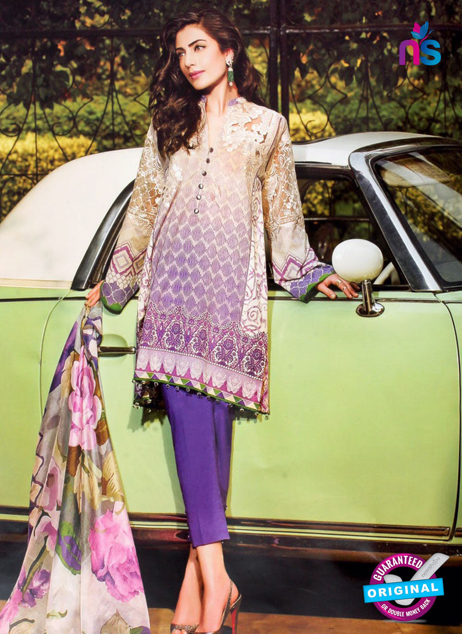 NS10967 Ivory and Violet Embroidered Lawn Salwar Suit