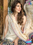 SC 13274 Beige and Blue Printed Cambric Lawn Cotton Pakistani Suit