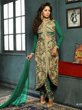 NS11570 A Green Designer Georgette Straight Suit