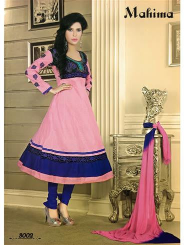 NS11047 Pink and Blue Designer Anarkali Suit