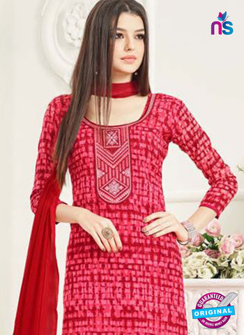 Aadesh 6001 Red Cotton Straight Suit