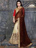 NS11845 Brown & Beige Color Georgette Designer Saree