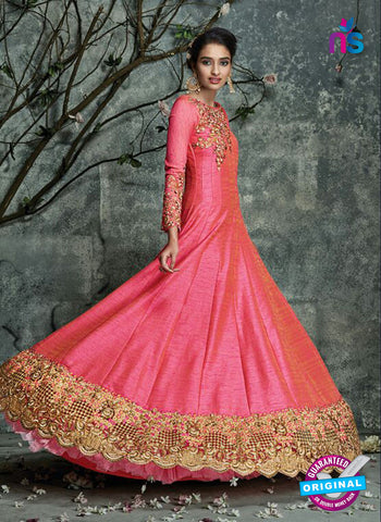 AZ 3528 Pink Silk Party Wear Gown