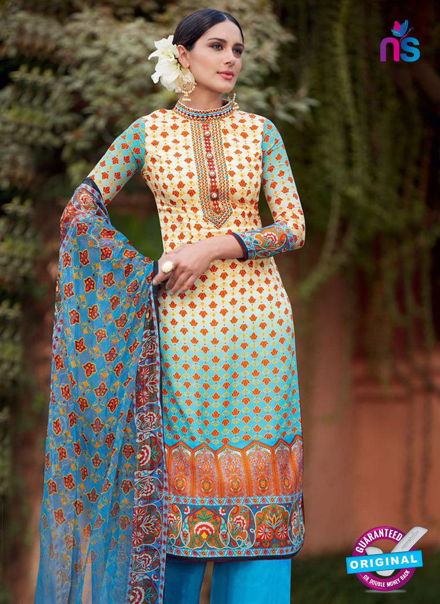 Heer 6003 Sky Blue and Yellow Color Cotton Designer Straight Suit