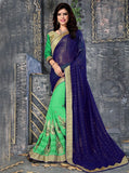 NS11846 Green & Blue Color Georgette Designer Saree