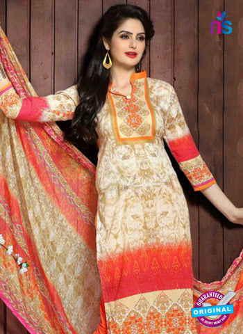 SC 13658 Beige and Orange Cambric Cotton Designer Fancy Ethnic Exclusive Salwar Straight Suit