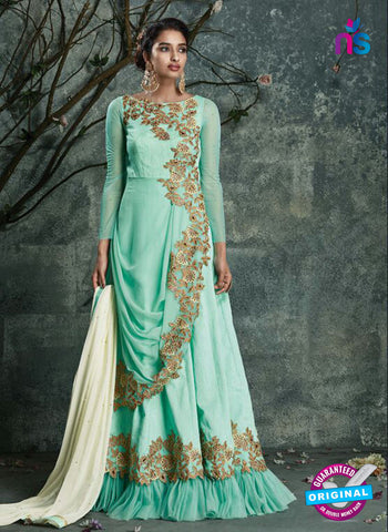 AZ 3529 Sea Green Georgette Party Wear Gown