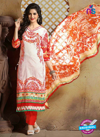 SC 13662 White and Orange Cambric Cotton Designer Fancy Ethnic Exclusive Salwar Straight Suit