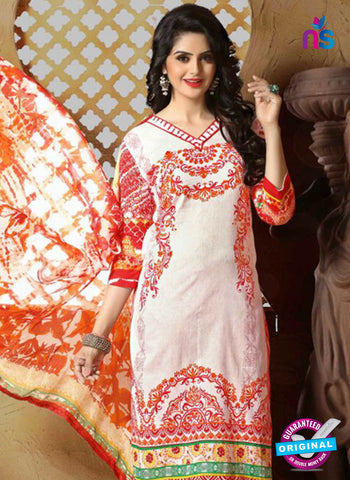 SC 13662 White and Orange Cambric Cotton Designer Fancy Ethnic Exclusive Salwar Straight Suit Online