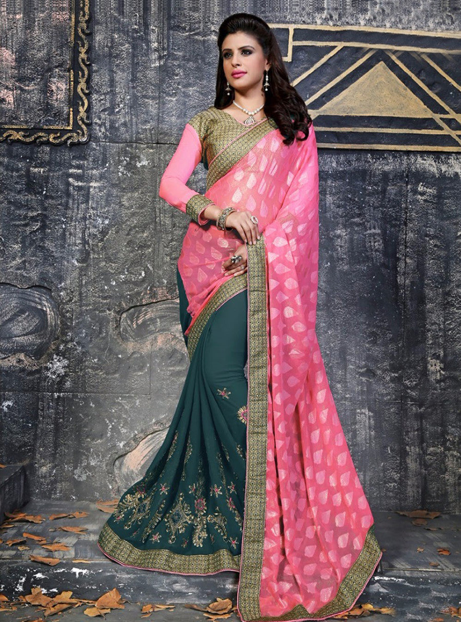 NS11847 Pink & Green Color Georgette Designer Saree