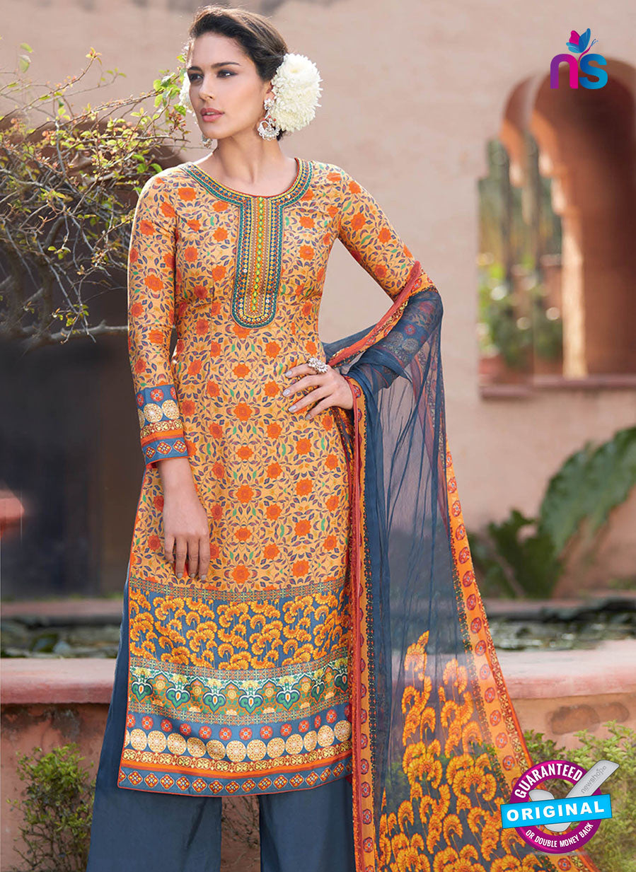 Heer 6005 Orange and Blue Color Cotton Designer Straight Suit