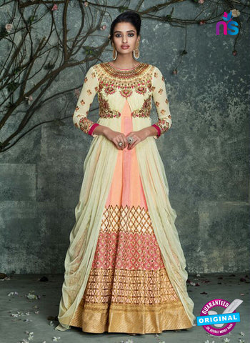AZ 3530 Beige and Peach Silk Party Wear Gown