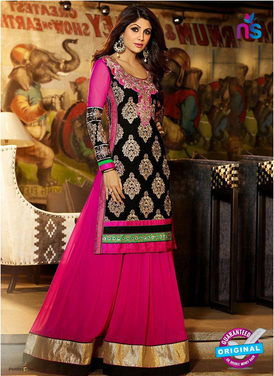 NS 11968 Black and Magenta Designer Anarkali Suit