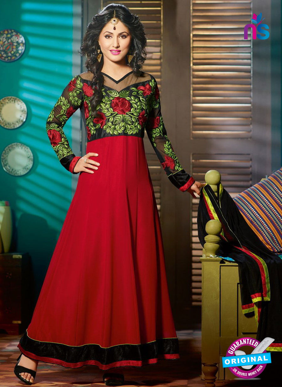 NS 11969 Red and Black Designer Anarkali Suit
