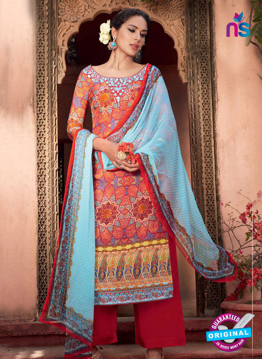 Heer 6006 Red and Sky Blue Color Cotton Designer Straight Suit