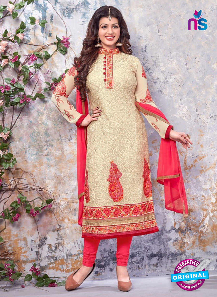 SC 13903 Beige and Pink Georgette Designer Occasion Wear Long Designer Straight Suit