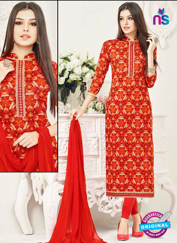 Aadesh 6006 Red Cotton Straight Suit