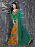 NS11848 Orange & Green Color Georgette Designer Saree