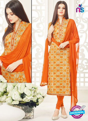 Aadesh 6007 Orange Cotton Straight Suit