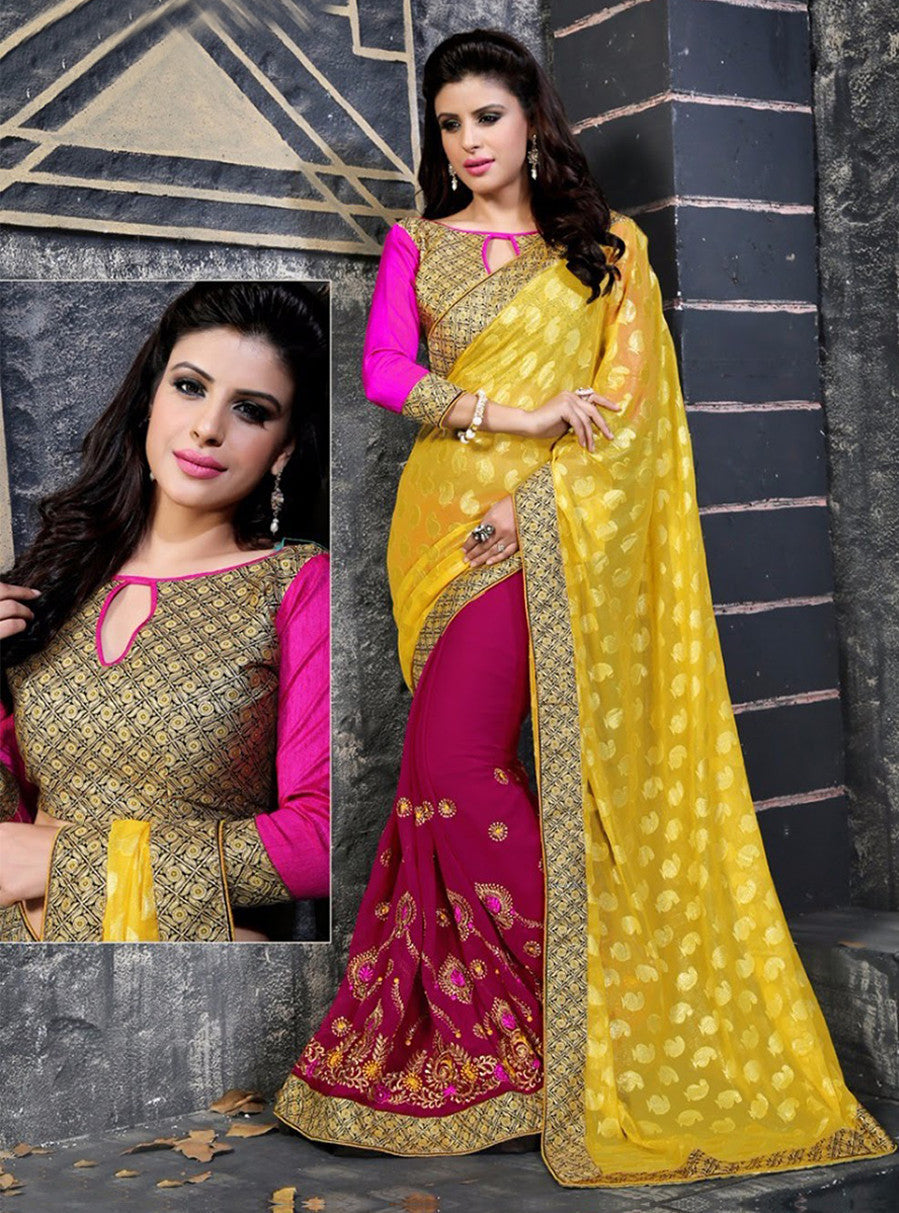 NS11849 Yellow & Pink Color Georgette Designer Saree