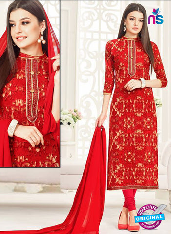 Aadesh 6008 Red Cotton Straight Suit
