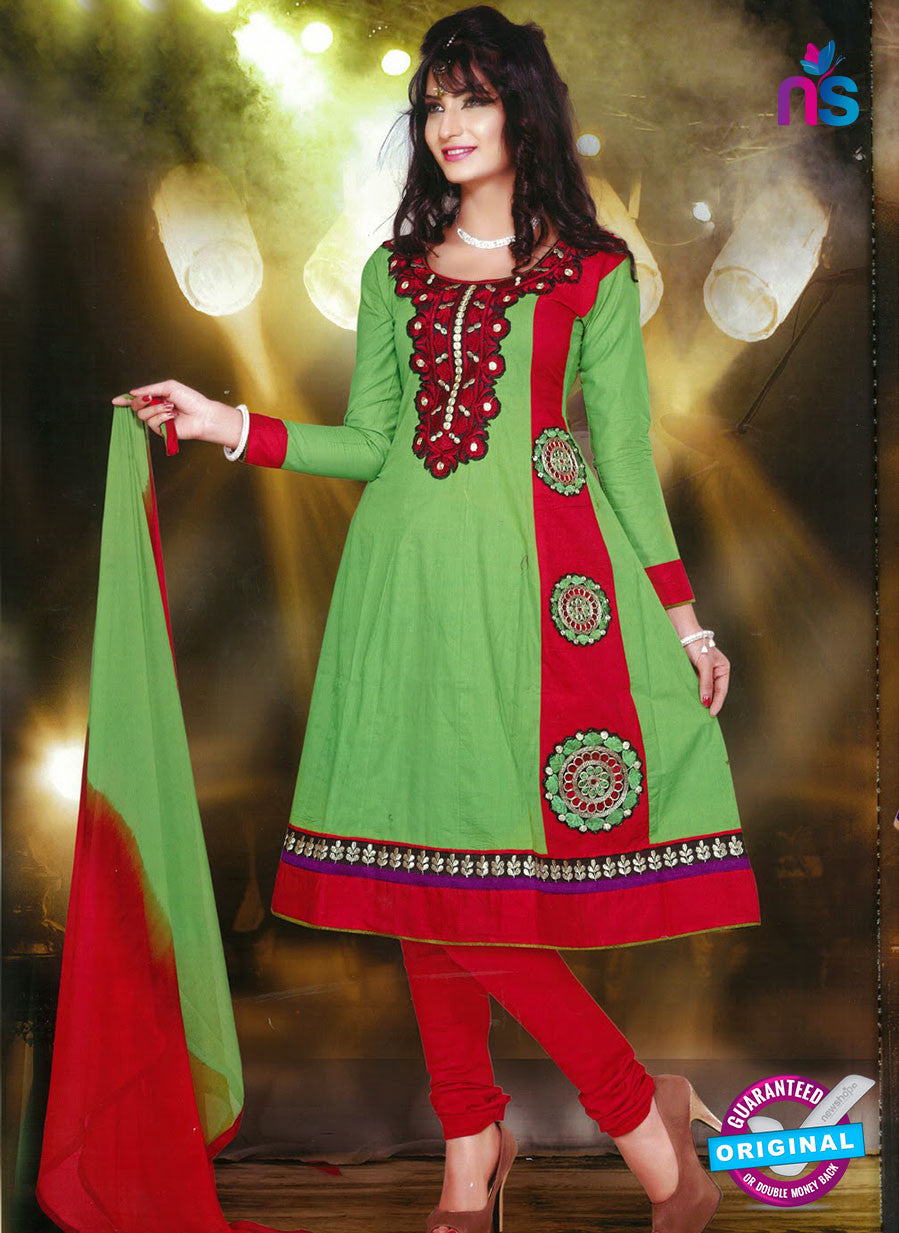 NS10248 Green and Red Anarkali Suit