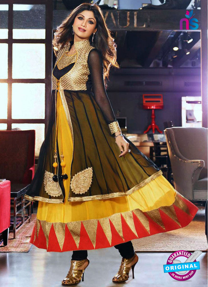 NS 11971 Black and Yellow Designer Anarkali Suit