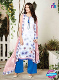 Ganga 6009-White and Blue Cotton Designer Suit