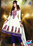 NS10249 White and Purple Anarkali Suit