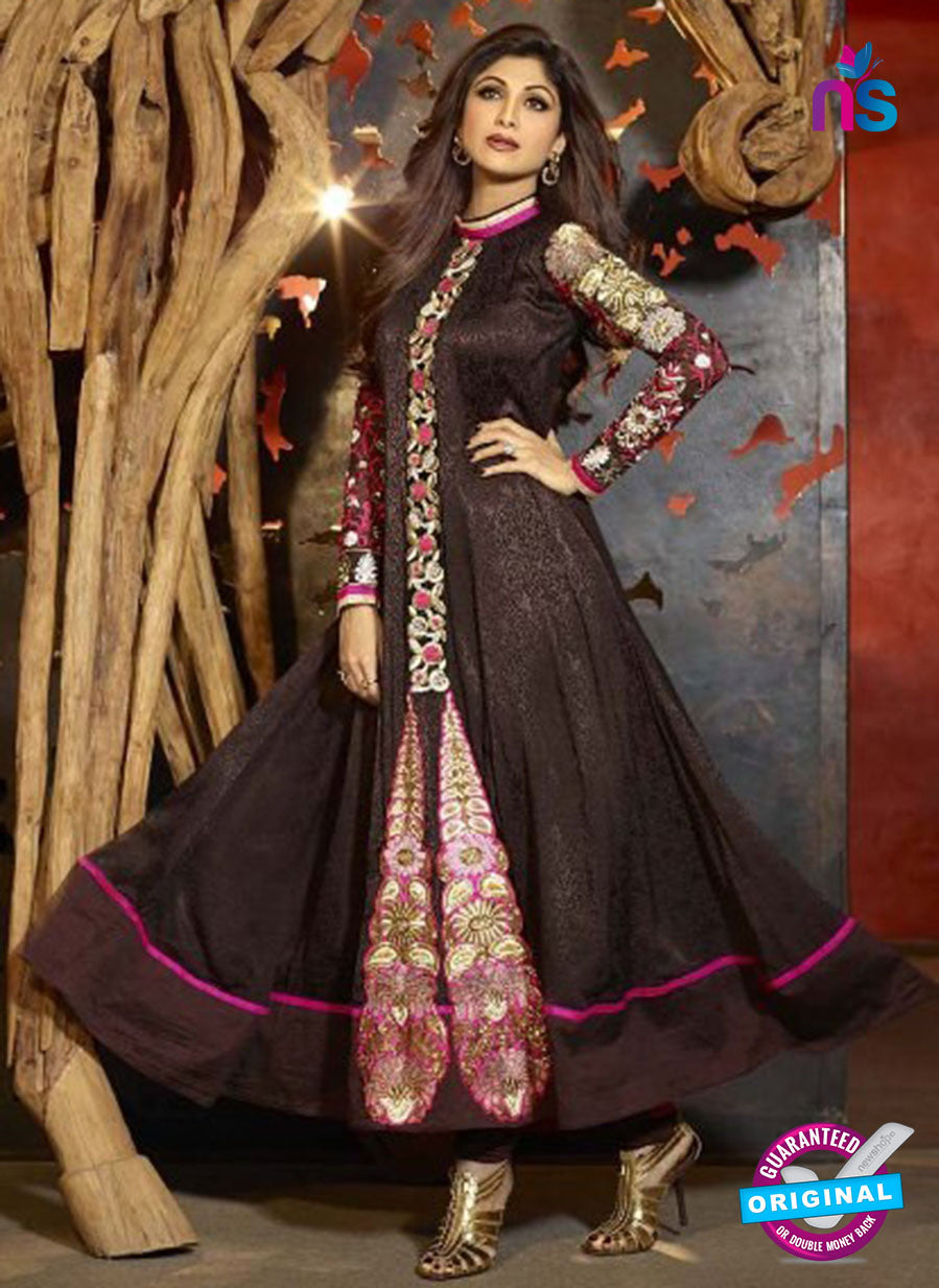 NS 11972 Black and Magenta Designer Anarkali Suit