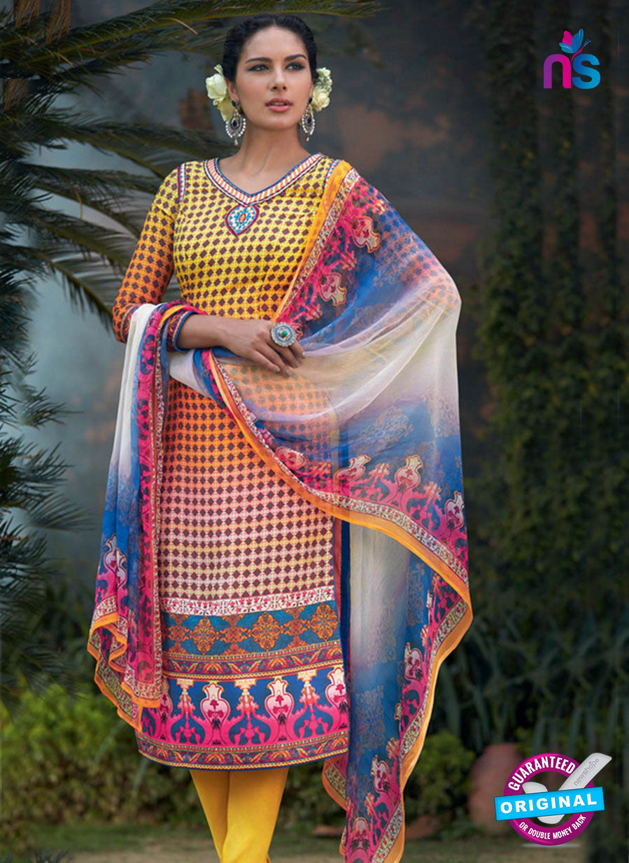 Heer 6010 Yellow and Blue Color Cotton Designer Straight Suit