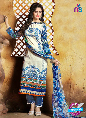 SC 13664 Beige and Blue Cambric Cotton Designer Fancy Ethnic Exclusive Salwar Straight Suit