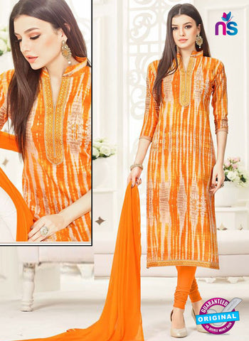 Aadesh 6011 Orange Cotton Straight Suit